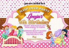 Personalised girls  SLEEPOVER,SLUMBER,PAJAMA BIRTHDAY invitations x 8