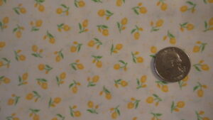 """Cotton Fabric SMALL YELLOW TULIPS ON WHITE 1 Yd/44"""""""