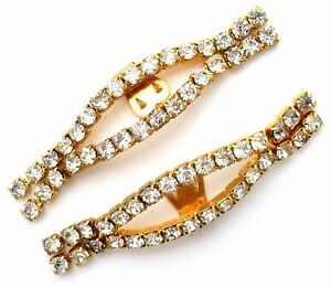 Clear Rhinestone Shoe Clips Gold tone Vintage Wedding Jewelry Accessories Bling