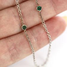 0.25 ctw Natural Bezel Set 4 Green Emerald Solid 14k White Gold Station Necklace