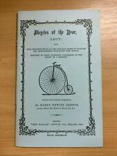 BICYCLES OF THE YEAR 1877 BY HARRY HEWITT GRIFFIN REPRINT SMALL BOOKLET