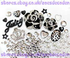 DIY Mobile cell Phone Case black silver crown metal cabochon Deco Den Kit