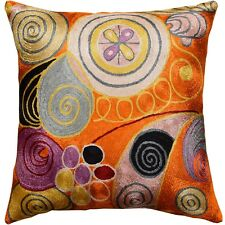 "Hilma Al Klint Orange Rust Accent Pillow Cover Handembroidered Art Silk 18x18"""