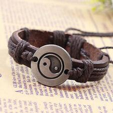 YIN YANG Brown Genuine Leather Bracelet - Minimalist Men's Women's Bracelet