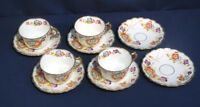 Antique Royal Stafford China Floral Bouquet Pansies 4 Tea Cup and + Saucer Sets