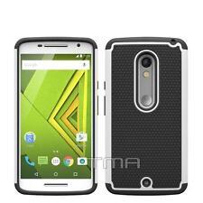 Motorola Moto X Play Rugged Rubber Impact Hybrid Shock Proof Case Cover - White