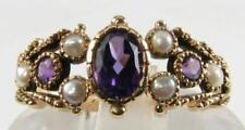 LOVELY 9K GOLD VICTORIAN INS AMETHYST & FRESH WATER PEARL RING