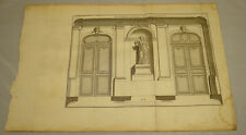1756 Antique Print/DECORATIONS FOR A HALL, NICHE/Courses in Architecture