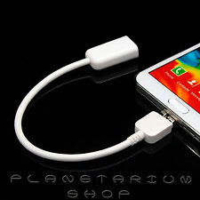 Conector Cable USB a Micro-USB 3.0 OTG HOST Para Samsung Galaxy Note 3 S5 Blanco