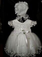 Baby Girls Christening Dress Wedding Party Dress with Bonnet