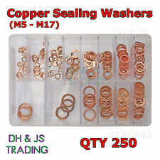 Assorted Box of Copper Sealing Washers Metric M5 M6 M8 M9 M10 M12 M14 QTY 250