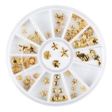 Nail Art Rondell - Goldfarben Muschel Mix Seepferd Seestern Meer Nailart #N3
