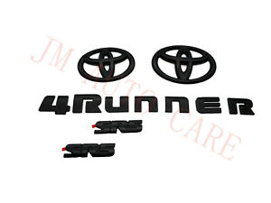 Overlay ! New 2014-2020 Toyota 4Runner SR5 MAatte Black Out Emblem Kit 5 Pcs