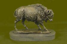 Hand Made bronze sculpture Marble Artwork Western Bison Buffalo American Decor