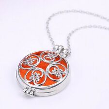 Perfume Round Box Antique Necklace Aroma Diffuser Essential Oil Locket Pendant