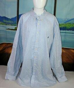 RALPH LAUREN 4XLT Cotton Blue & White L/S Shirt BD Collar