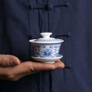 blue and white porcelain gaiwan small size Chinese tureen ceramic cup bowl lid