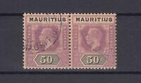 Mauritius KGV 1913/22 50c Pair SG200 Cat £130 VFU J7227