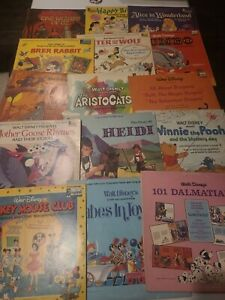 Collection Of 32 1960 and 1970's Disney Vinyl Records Songs and Stories