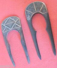 2 peigne ancien ébène Macassar incrustations cuivre argent coiffe