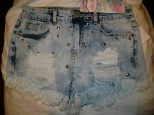Almost Famous Women's Juniors High Rise Denim Shorts Size 19 Embellished Stars