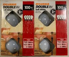Sylvania Double Life Soft White 100 W Light Bulbs 2 Pack of 4 Bulbs - NEW