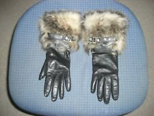 NEW LADIES UGG AUSTRALIA BLACK LEATHER GLOVES CASHMERE LINING FUR CUFF - SIZE S