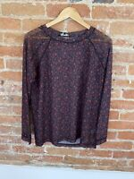 NEXT WOMENS NAVY ANIMAL PRINT MESH LONG SLEEVE TOP SIZE: 22 BNWT RRP £18