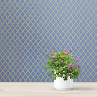 Modern Wallpaper Blue beige diamonds geometric textured wall coverings rolls 3D