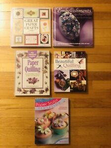 Lot of 5 Paper Craft Paper Quilling Crafting Projects Designs Instructions Books