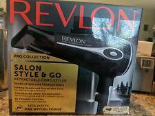 Revlon 1875W Retractable Cord, Fold and Go Hair Dryer Tourmaline Ionic Tech