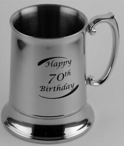 70th Birthday Stainless Steel Beer Mug - Engravable - Gift