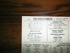 1966 Dodge & Plymouth EIGHT Series Models 318 CI V8 2BBL w/out CAP Tune Up Chart