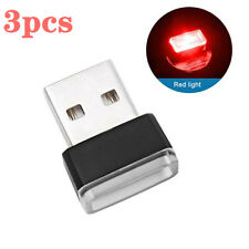 3x Mini Red Led Usb Car Interior Light Neon Atmosphere Ambient Lamp Accessories