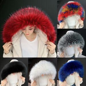 Detachable Women Jacket Collar Hood Faux Fur Raccoon Coat Fur Shawl Wrap Winter