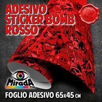FOGLIO ADESIVO STICKERBOMB ROSSO 65 X 45 CM TERMOFORMABILE WRAPPING AUTO MOTO