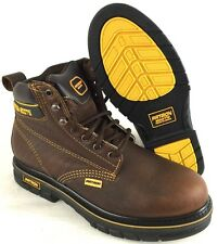 MEN'S WORK BOOTS ROUND TOE SLIP RESISTANT GENUINE LEATHER LACE UP SAFETY BROWN