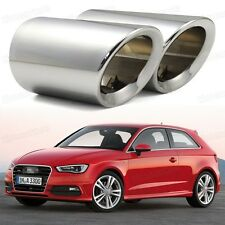 2Pcs Silver Exhaust Muffler Tail Pipe Tip Tailpipe fit for Audi A3 2011-2014
