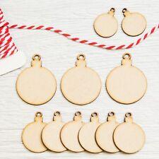 MDF Christmas Bauble Wooden Shape Tree Hanging Holes Circle Elegant Art Blank