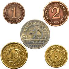 ALEMANIA WEIMAR . LOTE 5 MONEDAS . 1, 2, 5, 10 y 50 pfennig. PRECIOSAS