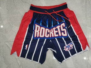 Houston Rockets Blue strips Retro Basketball Shorts Size: S-XXL