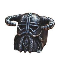Herren Vintage Wikinger Nordisch Stil Hörner Helm Ring