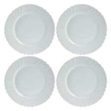 Set Of 4 Bormioli Rocco Ebro Tempered Opal Glass Dinner Plate Round Table Dining