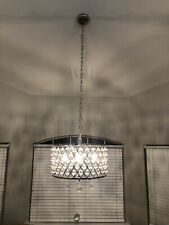 Luxury 4Light Crystal Chandelier Pendant Light With Crystal Beaded Drum US Stock