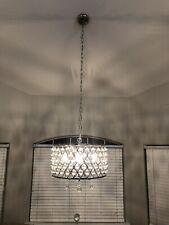 Luxury 4Light Crystal Chandelier Pendant Light With Crystal Beaded Drum US Stock