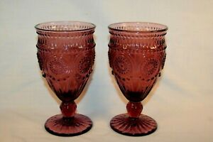 The Pioneer Woman Adeline 12-Ounce Footed Glass Goblets, Set of 2, Plum