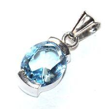 Petit pendentif argent massif 925 Topaze bleue bijou Pendant A1