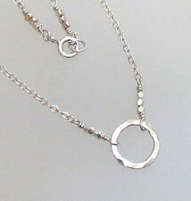 djs Sundance Sol Petite Hammered Solid Sterling Silver Circle Of Life Necklace