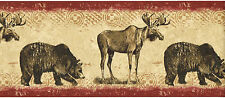 Moose Bear Animals Rustic Cabin Lodge Country Red Wallpaper Border