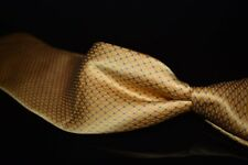 Brioni Made in Italy Liquid Gloss Satin Gold Geometric Blue Spotted Silk Tie NR